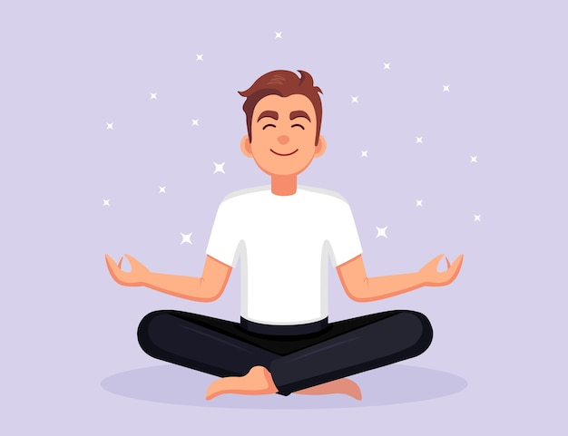 Człowiek robi joga. jogin siedzący w pozycji lotosu padmasana, medytujący, relaksujący, wyciszający, radzący sobie ze stresem