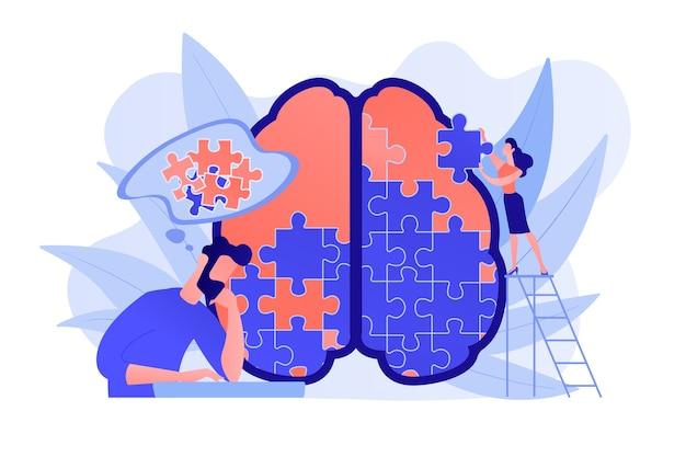 Człowiek robi puzzle ludzkiego mózgu. sesja psychologiczno-psychoterapeutyczna, leczenie psychiczne i dobre samopoczucie, terapeuta doradzający w zakresie chorób i trudności psychicznych fioletowa paleta. ilustracja wektorowa na białym tle.
