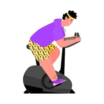 Człowiek robi trening na rowerze stacjonarnym płaski kreskówka wektor ilustracja na białym tle