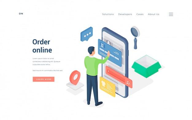 Człowiek robi zamówienie online na ilustracji smartphone