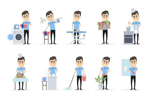 Człowiek robi zestaw gospodarstwa domowego. mycie i czyszczenie.