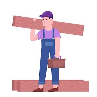 Człowiek robotnik wstrzymuje drewno na dzień pracy
