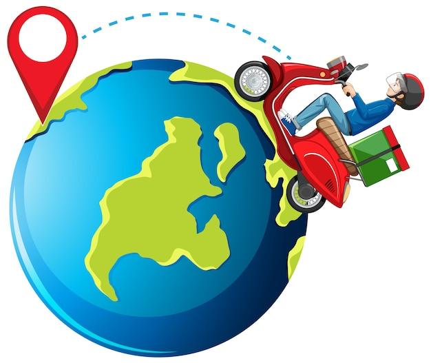 Człowiek rower lub człowiek dostawy i pin na ziemi