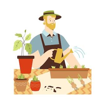 Człowiek sadzenia jadalnych roślin i ziół płaski wektor ilustracja na białym tle