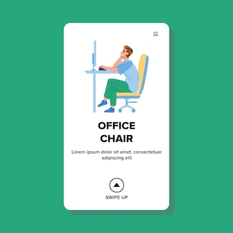 Człowiek siedzi w fotelu biurowym w miejscu pracy wektor. pracownik manager siedzieć w meble krzesło biurowe i pracy na komputerze. charakter professional workspace web flat cartoon illustration