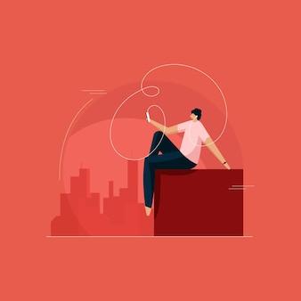 Człowiek słucha muzyki na świeżym powietrzu słuchając podcastów audio za pomocą smartfona ciesząc się radiem online spokojnie koncepcja życia