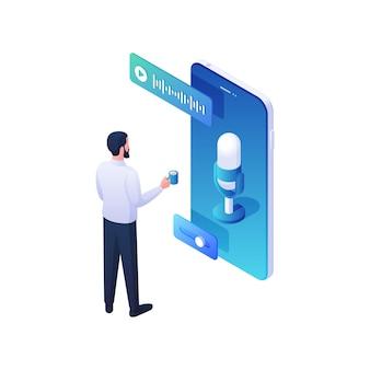 Człowiek słuchający muzyki za pomocą ilustracji izometrycznej aplikacji mobilnej. męska postać z filiżanką kawy, ciesząca się ulubioną ścieżką dźwiękową online z niebieskiego smartfona. koncepcja rozrywki w postaci przenośnych mediów.