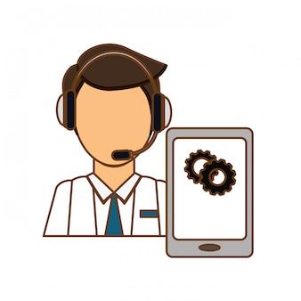 Człowiek słuchawki z ikoną usług smartphone