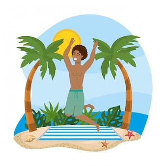 Człowiek sobie szorty kąpielowe i skoki w ręcznik z palmami