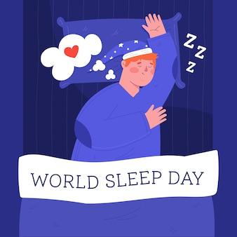Człowiek śpi dzień snu świata