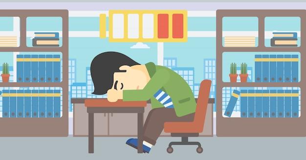 Człowiek śpi na ilustracji wektorowych w miejscu pracy.