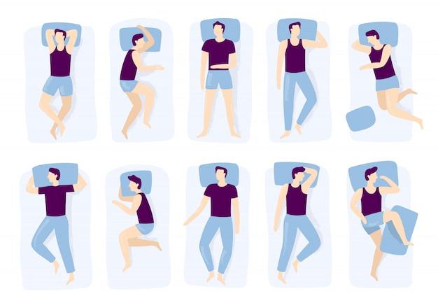 Człowiek śpi pozy. nocny sen stanowi, śpiący mężczyzna ustawia się na łóżku, a pozycja snu na białym tle