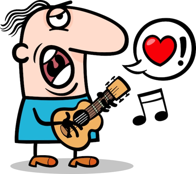 Człowiek śpiewa piosenkę miłosną na walentynki