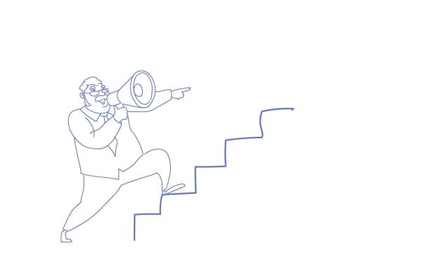Człowiek spiker trzymać głośnik wspinać się po drabinie kariery przywództwo szkic doodle