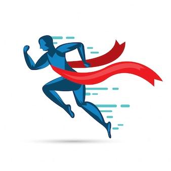 Człowiek sprint działa, aby wygrać płaski icon.vector