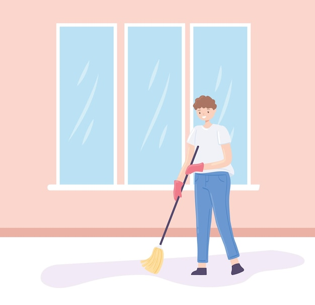 Człowiek sprzątający podłogę