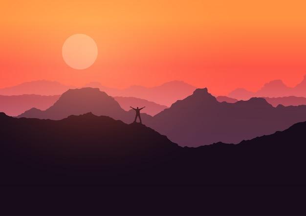 Człowiek stanął na górski krajobraz o zachodzie słońca