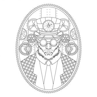 Człowiek steampunk ilustracja styl liniowy