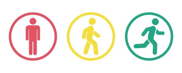 Człowiek stoi, chodzić i biegać zestaw ikon