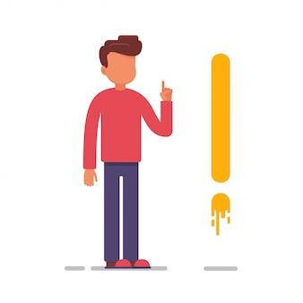 Człowiek stoi w pobliżu znaku wykrzyknika