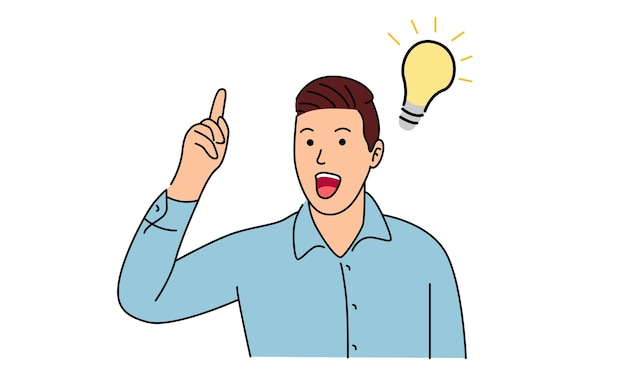 Człowiek stojący myśli ma pomysł