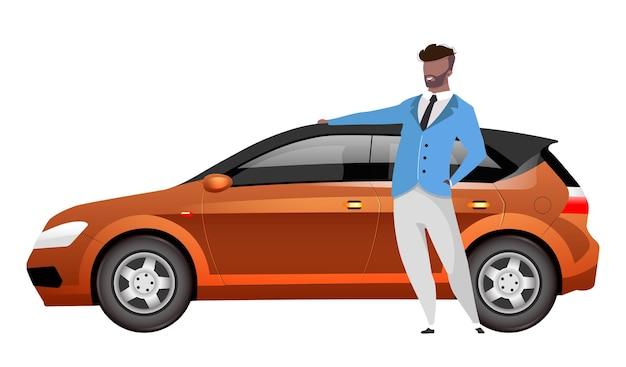 Człowiek stojący przez hatchback płaska konstrukcja kolor bez twarzy charakter