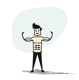 Człowiek stojący z cieniem fizyki silny muskularny mężczyzna pozowanie. kulturyści, zdrowy sport. ręcznie rysowane tła wektor kreskówka skech.