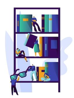 Człowiek studiujący literaturę na półce z książkami w bibliotece. kolekcja projektów regałów magazynowych. people relax in academic bookshelf at university bookstore information stack. ilustracja wektorowa płaski kreskówka