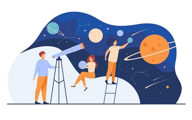 Człowiek studiuje galaktykę przez teleskop. kobiety trzymające modele planet, obserwujące meteory i konstelacje gwiazd. ilustracja wektorowa płaski horoskop, astronomia, odkrycie, astrologia
