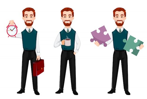 Człowiek sukcesu w biznesie, zestaw trzech pozach