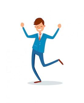 Człowiek szczęśliwy z osiągnięciami, szczęśliwy biznesmen