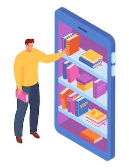 Człowiek trzyma książkę stojącą automat do sprzedaży
