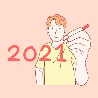 Człowiek, trzymając pióro i pisanie koncepcji nowego roku w wyciągnąć rękę