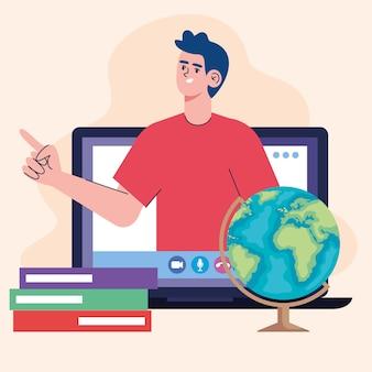 Człowiek uczy klasy online na ilustracji laptopa