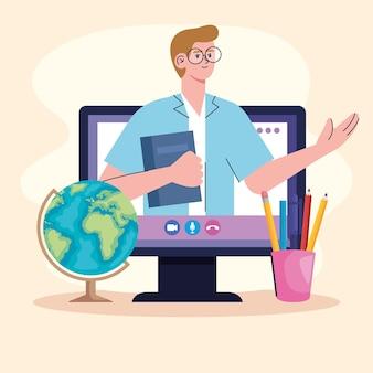 Człowiek uczy klasy online w ilustracji komputera stacjonarnego