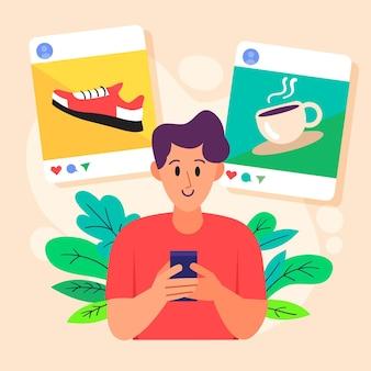 Człowiek udostępniający treści w mediach społecznościowych