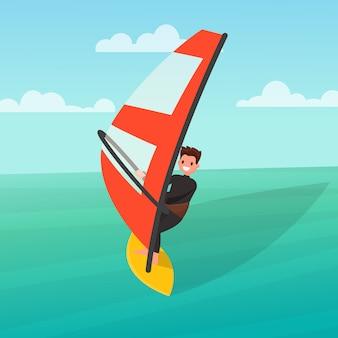 Człowiek uprawia windsurfing.