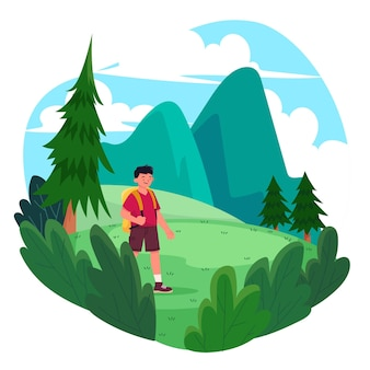 Człowiek uprawiający turystykę ekologiczną