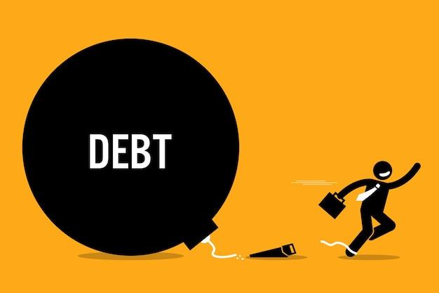 Człowiek uwalniający się od długów. pojęcie wolności finansowej i sukcesu.