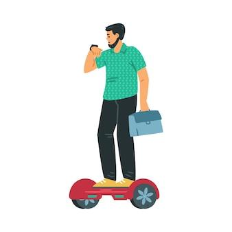 Człowiek używa skutera żyroskopowego do jazdy i dojazdów do pracy płaskiej ilustracji wektorowych na białym tle