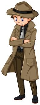 Człowiek w brązowym płaszczu i kapeluszu