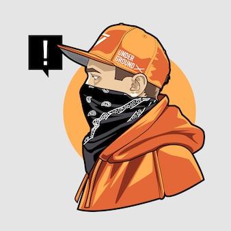 Człowiek w czapce i chustce art