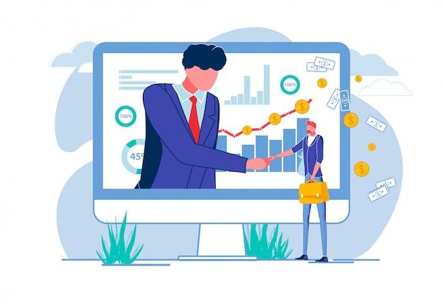 Człowiek w ekranie drżenie rąk z biznesmenem.