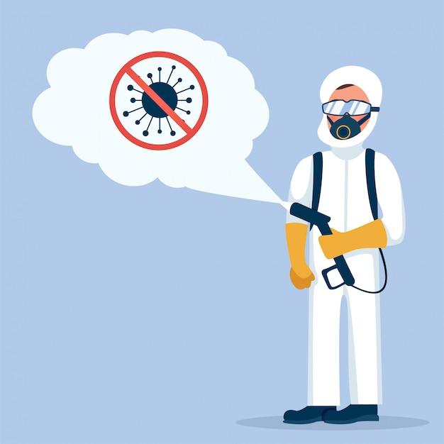 Człowiek w hazmat. kombinezon ochronny, maska przeciwgazowa i butla gazowa do dezynfekcji koronawirusa covid-19