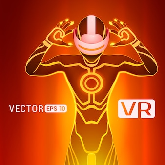 Człowiek w kasku wirtualnej rzeczywistości. futurystyczni samiec obliczają w vr słuchawki przeciw czerwonemu abstrakcjonistycznemu tłu
