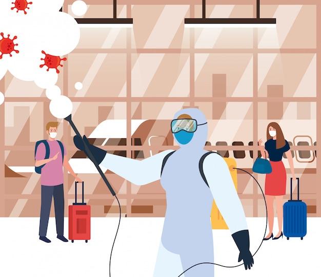 Człowiek w kombinezonie ochronnym oprysków hali lotniska z