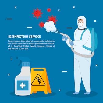 Człowiek w kombinezonie ochronnym rozpylania wirusa i butelki dezynfekujące