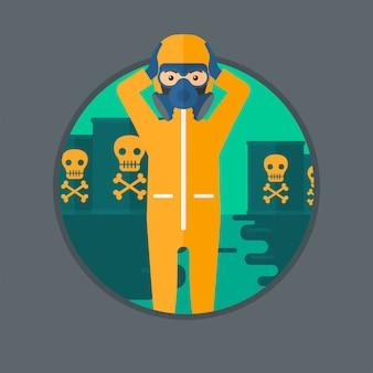 Człowiek w kostiumie ochronnym przed promieniowaniem.