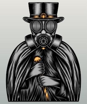 Człowiek w masce gazowej i ciemnym płaszczu.