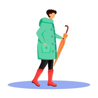 Człowiek w płaszczu przeciwdeszczowym w kolorze twarzy. chodzący kaukaski facet w gumboots. deszczowa pogoda. jesienny mokry dzień. samiec z parasolem w ręce odizolowywał kreskówki ilustrację na białym tle